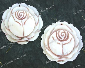 2 Sale Destash Pendants, 54mm, Hand Carved Shell Rose Pendants, Flower Carvings, Flower Pendants, Destash Supplies  DS-935