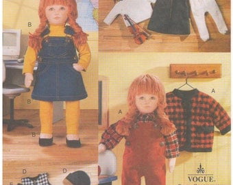 "1998 - Vogue 9866 Sewing Pattern Doll Collection Linda Carr Craft 18"" Doll Clothes Wardrobe Overalls Cardigan Jacket Dress Tights Top"