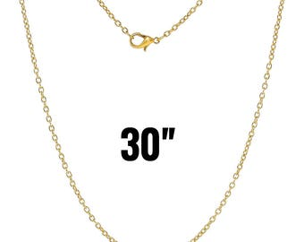 "100 Gold Necklaces - WHOLESALE - 3x2mm - Cable Chain - 30"" - Ships IMMEDIATELY from California - CH540d"