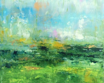 Abstract Landscape - 'In the Fields' - acrylic painting on canvas - size 30cm x 30cm