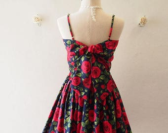 Mid Year SALE Crop Top and Skirt Set Navy with Red Rose Beauty and The Beast Rose Summer Matching Crop Top and skirt Set -S-M (US4-US6)