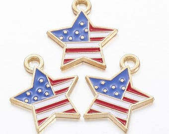 USA Enamel Gold Alloy Pendant / Charm - 27.5mm long, 21mm wide
