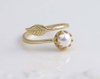 June Birthday. Leaf Ring. Pearl Ring. Twig Ring. Branch Ring. Nature Inspired. White Pearl. Swarovski Pearl. Gold Leaf. Jewelry under 25