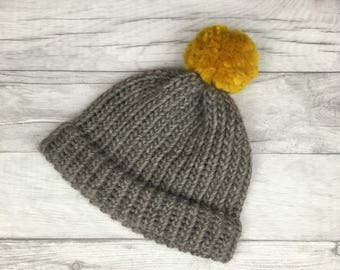 Grey and Mustard knitted hat, Shetland wool beanie, winter hat, Christmas gift girlfriend, toque, baby christmas hat, first christmas, etsy