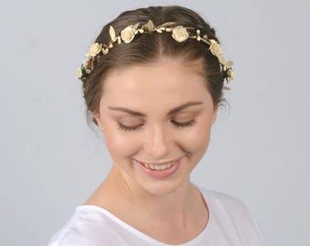 Cream and Gold Bridal Crown Rustic Flower Crown Bridal Hair Wreath Wedding Hair Piece Cream Floral Crown Bridal Flower Crown Wedding Crown