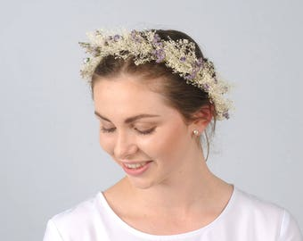 Lavender Flower Crown Bridal Head Wreath Babys Breath Halo Rustic Hair Piece Australian Wedding Natural Floral Headpiece Circlet  Tiara