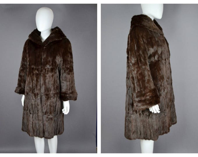 Vintage 1950's 50's Silky Real Fur Russian Squirrel Chestnut Brown Swing Style Coat M L