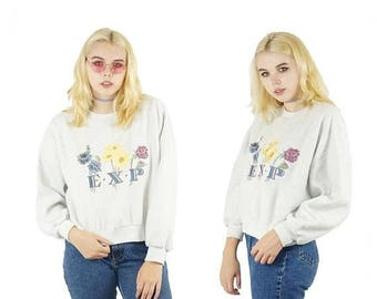 ON SALE Floral 90s E.X.P Cropped Sweatshirt, Embroidered 90s Logo Top, 90s Floral Grunge, Vintage Sweatshirt Crewneck, Women's Size X-Small