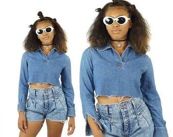 ON SALE Long Sleeved 90s Denim Cut-Off Crop Top, 90s Denim Shirt, 90s Grunge, Denim Shirts, Women's Size Small