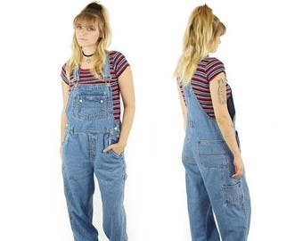 ON SALE Denim 90s Baggy Overalls, 90s Grunge, Vintage Dungarees, 90s Overalls Pants, Embroidered Sun Patch, Junior's Size Medium