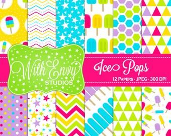 SALE Ice Pops Digital Scrapbook Paper - Ice Pops Scrapbook Paper - Rainbow Scrapbook Paper - Summer Patterned Paper - Commercial Use