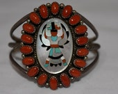 "Huge 2"" Tall Gorgeous Vintage Navajo Zuni Coral Cluster Rare Knifewing Design Kachina Dancer Bracelet 37 Grams"