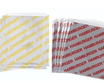 Papers Printed Foil Cheeseburger Bags 50  Yellow