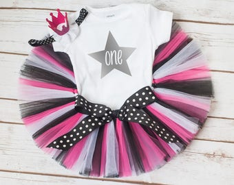 """Pink and black birthday outfit """"Kelsey"""" pink and black tutu set star birthday cake smash outfit rock star birthday girl outfit 1st birthday"""