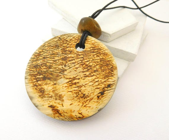 Retro Tribal Coconut Bead Pendant Long Black Cord Bohemian Necklace CC19