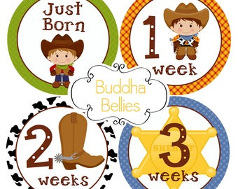 BUNDLE PACK Cowboy Baby Boy Set of 20 Monthly Baby Stickers Western Baby Shower Milestone Stickers Newborn Stickers Just Born