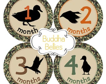 Duck Hunter Baby Month Stickers Mallard Duck Baby Boy Duck Hunting Monthly Stickers Daddy's Hunting Buddy Oregon Duck Hunter Nursery