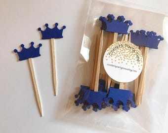 24 Crown Cupcake Toppers | Tiara Cupcake Toppers | Cardstock | 1 1/2 inches