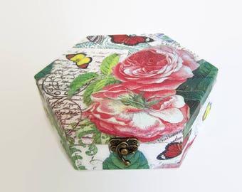 Roses and Butterfly Decoupage Box - Decorative  Hexagonal Wooden Jewellery/Sewing/Trinket/Keepsake Box