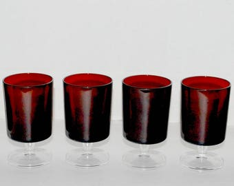 Ruby red glasses Luminarc juice  glasses  cocktail glasses cris d'arques glass set of 6