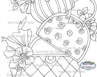 INSTANT DOWNLOAD Digital Digi Stamps Big Eye Big Head Dolls Bestie New Bestie Glam Girl Hand Bags img615 Bestie My Besties By Sherri Baldy