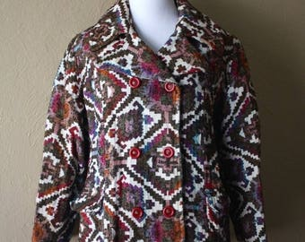Clearance Sale Vintage Ethnic Print Tapestry Coat