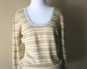 Clearance Sale Vintage Fine Knit Gold Striped Sweater