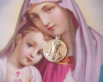 """Beautiful Little Antique 10K Gold Plated """"Sacred Heart of Jesus"""" Medal or Pendant"""
