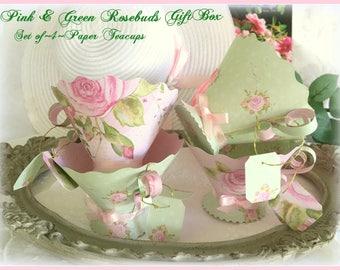 Teaparty Teacup Favors, Paper Teacups, Teabag Favor Boxes, Teatable Decor, Teaparty Supplies, Bridal Wedding Shower, Baby Shower, Roses, Tea