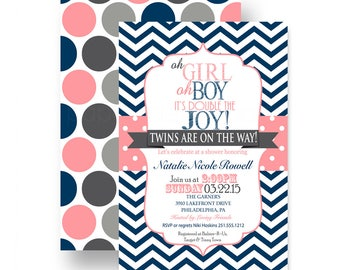 Navy & Coral Twins Baby Shower Invitation Boy Girl Party Printable  Printed Invites with Chevron Stripe and Polka Dot