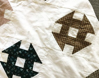 Antique Churn dash quilt top