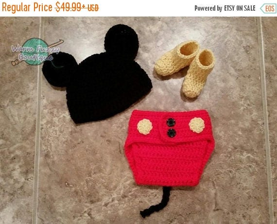 SUMMER SALE Baby Mickey Mouse Inspired Costume Set Hat Diaper Cover Booties - Crochet Winter Outfit Newborn Boy Girl Halloween  Photo Prop