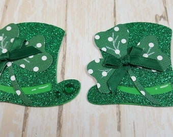 2 St Patricks Day Top hat, Die cuts, Scrapbook Embellishment, Card Topper