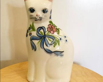 Vintage Ceramic White Cat with blue ribbon statue