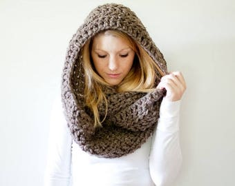 FLASH SALE Extra Chunky Cowl Scarf Hood Loop Infinity scarf - the DAKOTA infinity - barley - wool blend