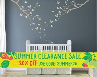 Tree Wall Decal | Two Branches and Butterflies | Custom Baby Nursery, Children's Room, Living Space Interior Design | Easy Application 069