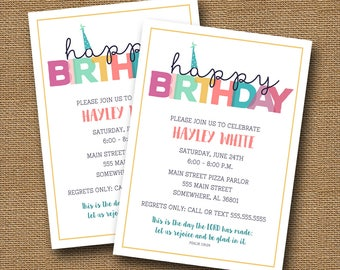 Mod Teen Girl Birthday Party Invitation | Big Kid's Party Invite | Girl's Simple Happy Birthday Party | Christian Birthday | DIY PRINTABLE