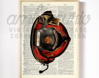 Authentic Firefighter Helmet Hero Tribute Print on an Unframed Upcycled Bookpage