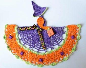 Crinoline Witch Lady Hand Crochet Doily / Halloween Decoration