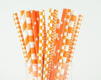 Orange Paper Straw Mix/Striped/Chevron/Diamond/Checkered/Circle Straws/Party Decor/Cake Pop Sticks/Party Supplies/Wedding/Baby Shower