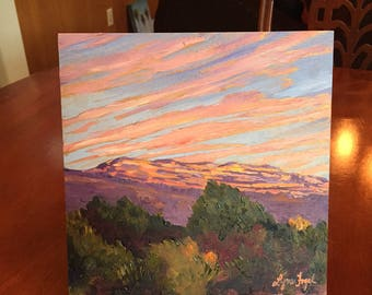 Ojai oil painting,Landscape painting, Pink Moment, Topa Topa Mountains, Ojai Pink Moment, Mountain painting,  California painting