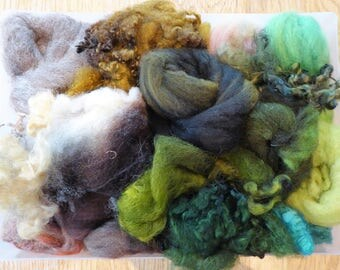 Hope Jacare - Mixed wool pack- custom blended top -  150g hand dyed top and fleece  - MWP08