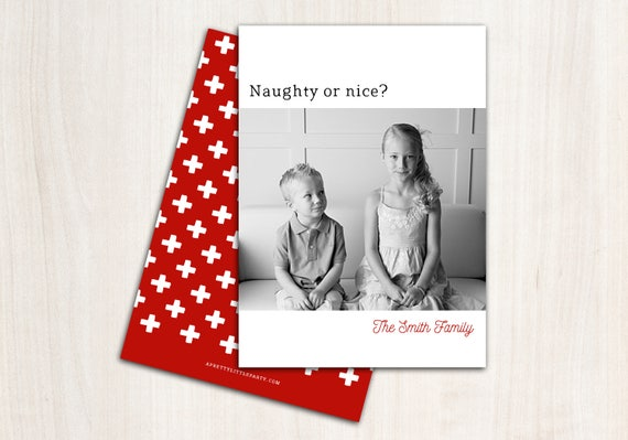 Naughty or Nice? Christmas Photo Card - Funny Holiday Cards - Printed Double Sided