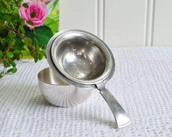 Tea set with strainer and drip cup, vintage Swedish loose tea utensil, Gab Sweden, silver plate