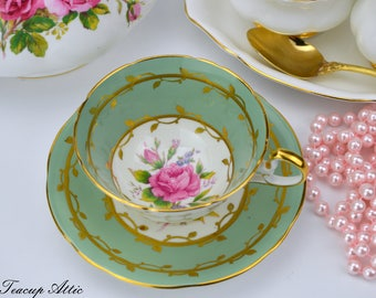 Aynsley Sage Green Teacup and Saucer With Pink Rose, English Bone China, Cabinet Collection Teacup, Wedding Gift,  ca. 1939
