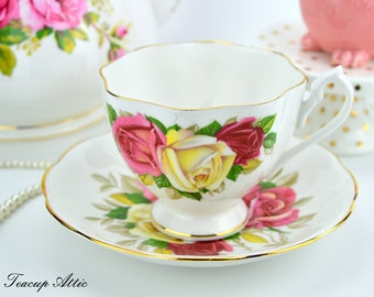 Queen Anne Lady Sylvia Teacup and Saucer, English Bone China Tea Cup Set, Replacement China, ca 1940-1960