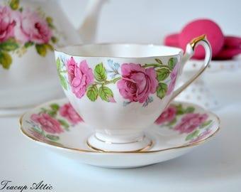Fine Bone China Alexander Rose Teacup and Saucer, English Bone China Tea cup And Saucer, Wedding Gift, ca. 1940-1966