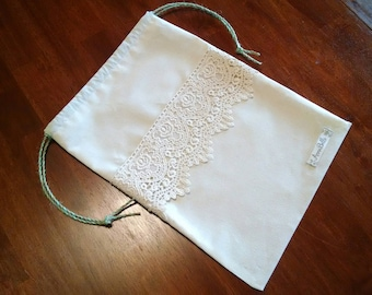 AnnaBelle Victorian Rose Lace Drawstring Bag