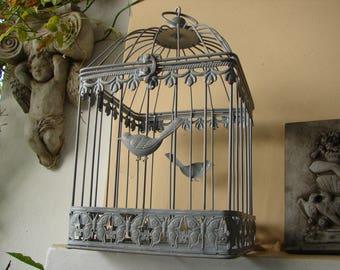 shabby chic gray birdcage,grey distressed paint,bird & butterflies design,top opens in half