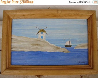 3 day SUMMER SALE 15% OFF handpainted, Greek island, vintage watercolor acrylic on wood in frame-sailing boat windmill, seagulls Greek summe